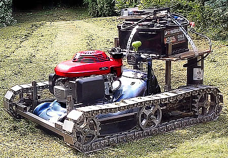 Home made radio control lawnmower with caterpillar tracks